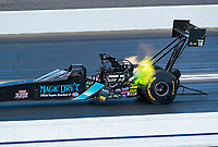 Feb 9, 2019; Pomona, CA, USA; NHRA top fuel driver Scott Palmer during qualifying for the Winternationals at Auto Club Raceway at Pomona. Mandatory Credit: Mark J. Rebilas-USA TODAY Sports
