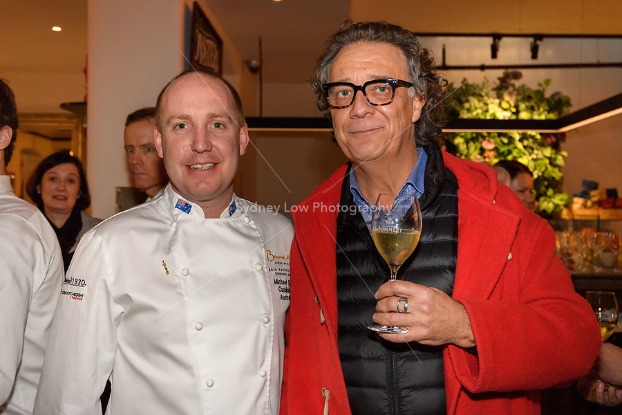 Melbourne, June 26, 2018 - Michael Cole and Cam Smith from 3RRR pose for a photograph at a celebration event for Bocuse d'Or Australia team and their sponsors and supporters at Philippe Restaurant in Melbourne, Australia. Photo Sydney Low.
