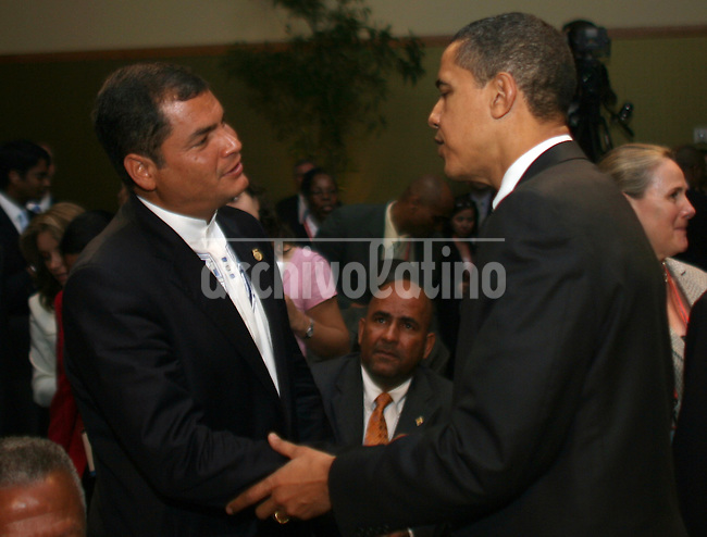 President of Ecuador Rafael Correa  speaks with US President Barak Obama during the America's Summit in Trinidad and Tobago.