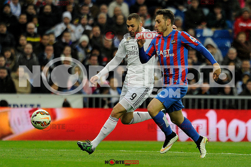 Real Madrid´s Karim Benzema and Levante UD´s Ivan Lopez during 2014-15 La Liga match between Real Madrid and Levante UD at Santiago Bernabeu stadium in Madrid, Spain. March 15, 2015. (ALTERPHOTOS/Luis Fernandez) /NORTEphoto.com