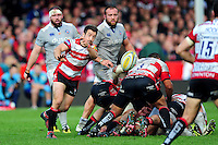 Greig Laidlaw of Gloucester Rugby passes the ball. Aviva Premiership match, between Gloucester Rugby and Bath Rugby on October 1, 2016 at Kingsholm Stadium in Gloucester, England. Photo by: Patrick Khachfe / Onside Images