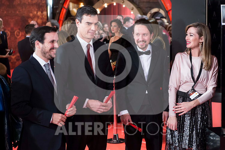 Alberto Garzon, Pedro Sanchez and Pablo Iglesias attends red carpet of Goya Cinema Awards 2018 at Madrid Marriott Auditorium in Madrid , Spain. February 03, 2018. (ALTERPHOTOS/Borja B.Hojas)