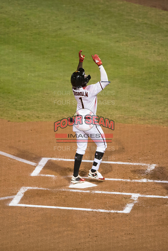 Salt River Rafters shortstop Jazz Chisholm (1), of the Arizona Diamondbacks organization, celebrates after hitting a home run during an Arizona Fall League game against the Peoria Javelinas at Salt River Fields at Talking Stick on November 7, 2018 in Scottsdale, Arizona. Peoria defeated Salt River 8-7. (Zachary Lucy/Four Seam Images)