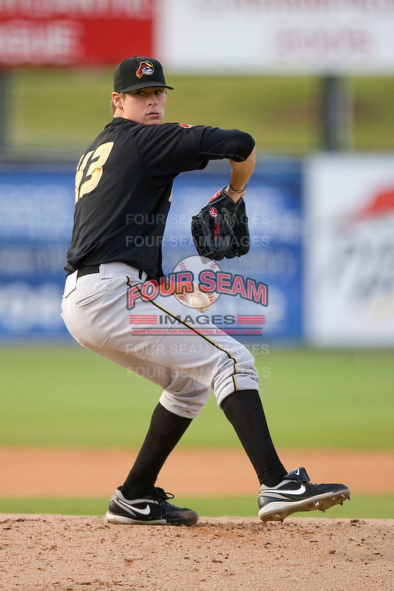 Starting pitcher Nathan Baker #43 of the West Virginia Power \ia \ Kannapolis Intimidators at Fieldcrest Cannon Stadium April 25, 2010, in Kannapolis, North Carolina.  Photo by Brian Westerholt / Four Seam Images