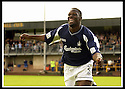 24/8/02         Copyright Pic : James Stewart                     .File Name : stewart-alloa v falkirk 13.FALKIRK'S TRINIDADIAN INTERNATIONALIST COLLIN SAMUEL CELEBRATES AFTER FIRING HOME THE FOURTH GOAL......James Stewart Photo Agency, 19 Carronlea Drive, Falkirk. FK2 8DN      Vat Reg No. 607 6932 25.Office : +44 (0)1324 570906     .Mobile : + 44 (0)7721 416997.Fax     :  +44 (0)1324 570906.E-mail : jim@jspa.co.uk.If you require further information then contact Jim Stewart on any of the numbers above.........