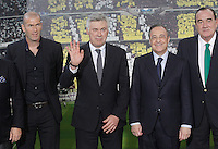 Real Madrid's new coach Carlo Ancelotti with his assitant Zinedine Zidane (l), the President Florentino Perez (2r) and the Vice President fernando Fernandez Tapias (r) during his official presentation.June 26, 2013. (ALTERPHOTOS/Acero) .<br />