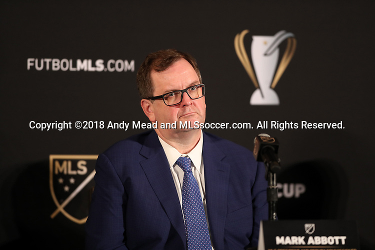 ATLANTA, GA - DECEMBER 07: MLS President and CEO Mark Abbott. The MLS State of the League Address and Press Conference was held on December 7, 2018 at the Westin Peachtree Plaza, Atlanta Peachtree Ballroom in Atlanta, GA.