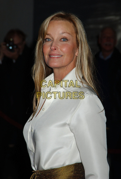 BO DEREK.28th Annual Kennedy Center Honors held at the State Department. Washington D.C.USA, United States.3rd December 2005.Ref:ADM/LF.half length white shirt gold belt sash smiling.www.capitalpictures.com.sales@capitalpictures.com.© Capital Pictures..