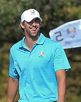 25 SEP 12  Olympic Record setter Michael Phelps enjoyingTuesdays Celebrity Scramble at The 39th Ryder Cup at The Medinah Country Club in Medinah, Illinois.