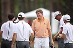 HOWEY IN THE HILLS, FL - MAY 19: Individual champion Josh Gibson of Hope College congratulates the Wittenberg University team on their team victory during the Division III Men's Golf Championship held at the Mission Inn Resort and Club on May 19, 2017 in Howey In The Hills, Florida. (Photo by Cy Cyr/NCAA Photos via Getty Images)