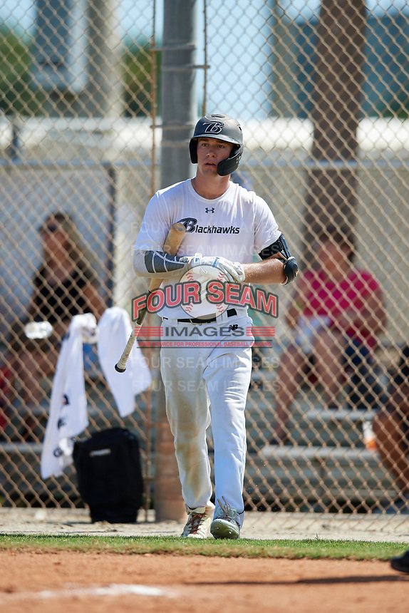 Caiden Matheny during the WWBA World Championship at the Roger Dean Complex on October 20, 2018 in Jupiter, Florida.  Caiden Matheny is an outfielder from Murrieta, California who attends Vista Murrieta High School and is committed to Washington.  (Mike Janes/Four Seam Images)