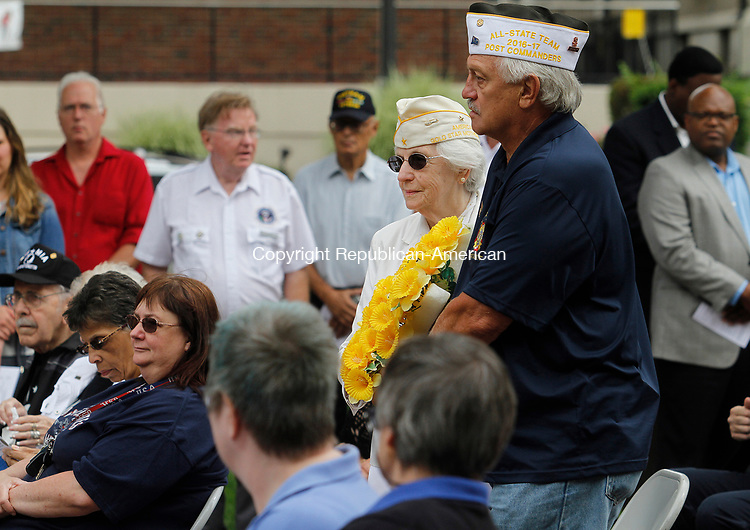WATERBURY, CT - 29 JULY 2017 - 072917JW10.jpg -- President of the Gold Star Mothers, Mary Kight and VFW Post 7330 Commander Joseph Ostroski present the For All Those Who Died In Service wreath during the Korean War Remembrance Day Ceremony Saturday morning on the Waterbury Green.  Jonathan Wilcox Republican-American