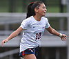 Mia Delmond #10 of South Side reacts after scoring a goal to give the Cyclones a 1-0 lead over host North Shore High School in a Nassau County AB1 varsity girls soccer game on Friday, Sept. 14, 2018. South Side went on to win 2-0.