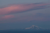 Mt. Baker at Dusk from Stone Tower at Summit of Mt. Constitution, Moran State Park, Orcas Island, San Juan Islands, Washington, US