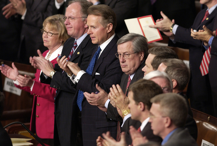 Republicans clap at the State of the Union address in the House chamber of the U.S. Capitol