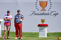 Patrick Reed (USA) looks over his tee shot on 1 during round 4 Singles of the 2017 President's Cup, Liberty National Golf Club, Jersey City, New Jersey, USA. 10/1/2017. <br /> Picture: Golffile | Ken Murray<br /> <br /> All photo usage must carry mandatory copyright credit (&copy; Golffile | Ken Murray)