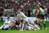 Will Chudley of Exeter Chiefs passes during the Aviva Premiership match between Northampton Saints and Exeter Chiefs at Franklin's Gardens on Sunday 9th September 2012 (Photo by Rob Munro)