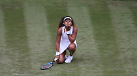 Dejection for Naomi Osaka (JPN) during her match against Yulia Putintseva (KAZ) in their Ladies' Singles First Round match<br /> <br /> Photographer Rob Newell/CameraSport<br /> <br /> Wimbledon Lawn Tennis Championships - Day 1 - Monday 1st July 2019 -  All England Lawn Tennis and Croquet Club - Wimbledon - London - England<br /> <br /> World Copyright © 2019 CameraSport. All rights reserved. 43 Linden Ave. Countesthorpe. Leicester. England. LE8 5PG - Tel: +44 (0) 116 277 4147 - admin@camerasport.com - www.camerasport.com