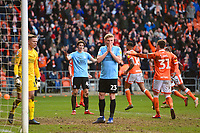 Taylor Moore of Southend United reacts to scoring an own goal<br /> <br /> Photographer Richard Martin-Roberts/CameraSport<br /> <br /> The EFL Sky Bet League One - Blackpool v Southend United - Saturday 9th March 2019 - Bloomfield Road - Blackpool<br /> <br /> World Copyright © 2019 CameraSport. All rights reserved. 43 Linden Ave. Countesthorpe. Leicester. England. LE8 5PG - Tel: +44 (0) 116 277 4147 - admin@camerasport.com - www.camerasport.com
