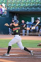 Michael Carballo (8) of the Great Falls Voyagers at bat against the Ogden Raptors in Pioneer League play at Lindquist Field on August 14, 2013 in Ogden Utah. (Stephen Smith/Four Seam Images)
