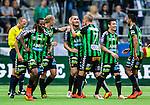Stockholm 2014-06-18 Fotboll Superettan Hammarby IF - GAIS :  <br /> GAIS Shkelqim Krasniqi har gjort 2-0 och gratuleras av lagkamrater<br /> (Foto: Kenta J&ouml;nsson) Nyckelord:  Superettan Tele2 Arena Hammarby HIF Bajen GAIS jubel gl&auml;dje lycka glad happy
