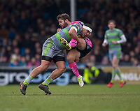 Exeter Cheifs' Santiago Cordero is tackled by Newcastle Falcons' Joel Matavesi<br /> <br /> Photographer Bob Bradford/CameraSport<br /> <br /> Anglo Welsh Cup Semi Final - Exeter Chiefs v Newcastle Falcons - Sunday 11th March 2018 - Sandy Park - Exeter<br /> <br /> World Copyright &copy; 2018 CameraSport. All rights reserved. 43 Linden Ave. Countesthorpe. Leicester. England. LE8 5PG - Tel: +44 (0) 116 277 4147 - admin@camerasport.com - www.camerasport.com