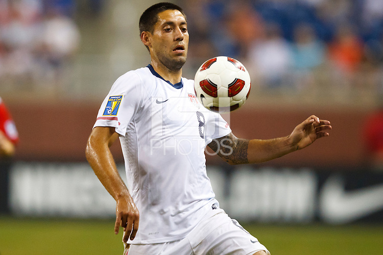 7 June 2011: USA Men's National Team forward Clint Dempsey (8) chests the ball during the CONCACAF soccer match between USA MNT and Canada MNT at Ford Field Detroit, Michigan. USA won 2-0.