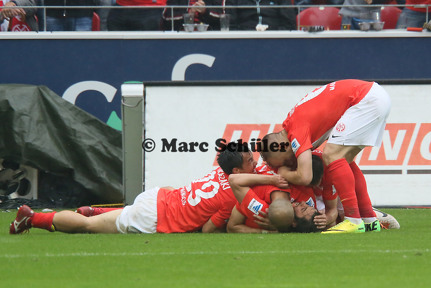 Torjubel Mainz um Yunus Malli beim 2:1- 1. FSV Mainz 05 vs. Hamburger SV, Coface Arena, 34. Spieltag