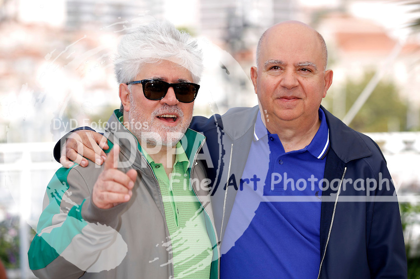 Pedro Almodovar and Augustin Almodovar at the 'Julieta' photocall during the 69th Cannes Film Festival at the Palais des Festivals on May 17, 2016