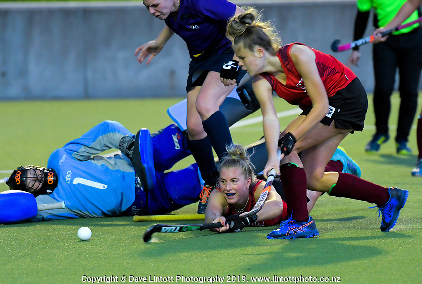 Action from the Wellington Hockey women's open grade premier one match between Hutt United and Kapiti at National Hockey Stadium in Wellington, New Zealand on Saturday, 25 May 2019. Photo: Dave Lintott / lintottphoto.co.nz