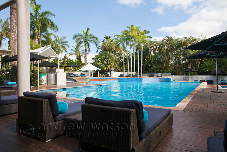 Swimming pool at Shangri-La Hotel.  The Pier, Cairns, Queensland, Australia