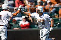 Texas Longhorn Russell Moldenhauer scores against Nebraska on Sunday March 21st, 2100 at UFCU Dish-Falk Field in Austin, Texas.  (Photo by Andrew Woolley / Four Seam Images)