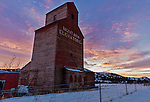 Gallatin County, MT: Old Montana Grain Elevator at sunrise in winter