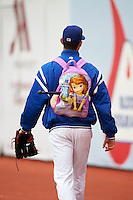 Chattanooga Lookouts pitcher walks to the bullpen with a princess backpack on before a game against the Jacksonville Suns on April 30, 2015 at AT&T Field in Chattanooga, Tennessee.  Jacksonville defeated Chattanooga 6-4.  (Mike Janes/Four Seam Images)