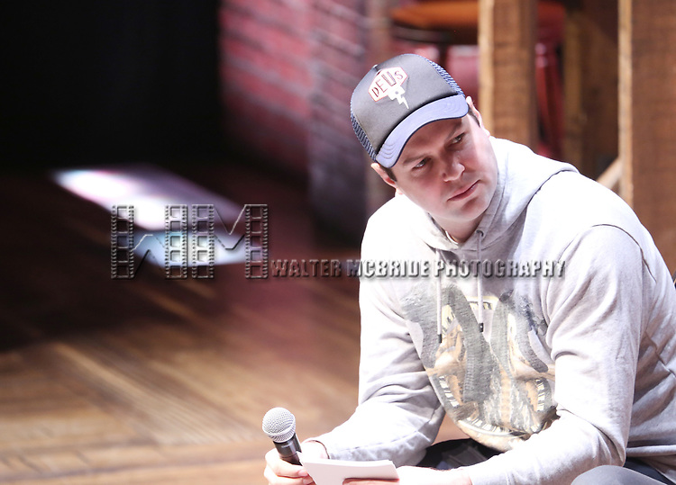"""Taran Killam during The Rockefeller Foundation and The Gilder Lehrman Institute of American History sponsored High School student #EduHam Q & A  before matinee performance of  """"Hamilton"""" at the Richard Rodgers Theatre on 3/29/2017 in New York City."""