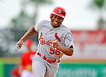 7 March 2012: St. Louis Cardinals outfielder Adron Chambers races to third during action against the Washington Nationals at Space Coast Stadium in Viera, Florida. The teams battled to a 3-3 tie in Grapefruit League Spring Training action. Mandatory Credit: Ed Wolfstein Photo