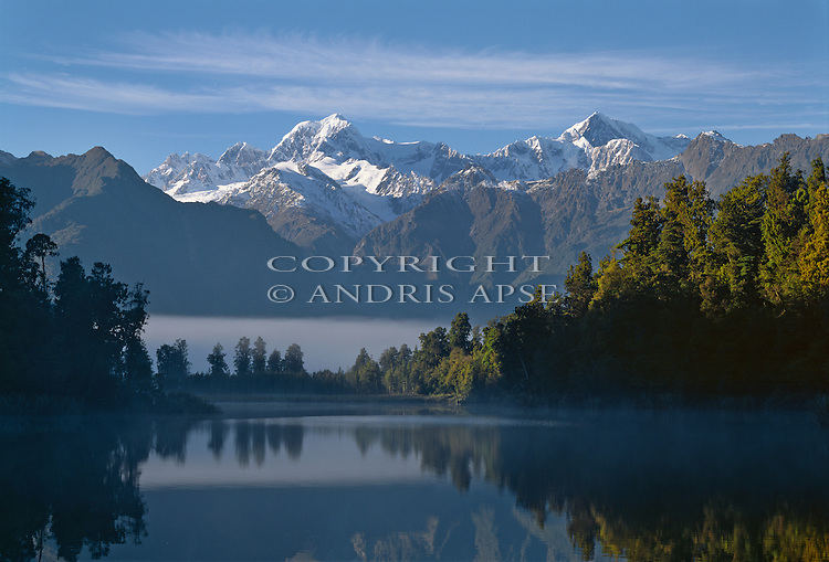 Lake Matheson. Mount Tasman on left and Mount Cook on right. Westland National Park. New Zealand.
