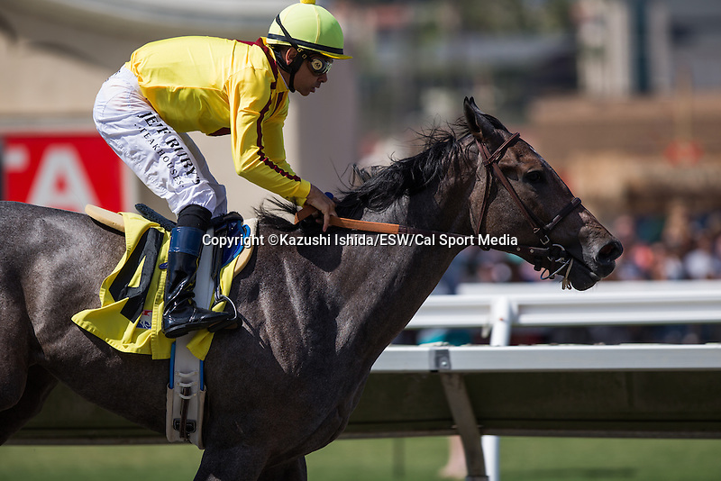 JUL 20,2014:Tara's Tango,ridden by Mike Smith,wins the Maiden Special Weight at Del Mar in Del Mar,CA. Kazushi Ishida/ESW/CSM