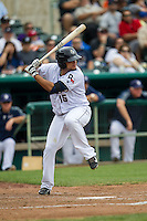 San Antonio Missions third baseman Diego Goris (15) at bat during the Texas League baseball game against the Corpus Christi Hooks on May 10, 2015 at Nelson Wolff Stadium in San Antonio, Texas. The Missions defeated the Hooks 6-5. (Andrew Woolley/Four Seam Images)