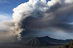 Ash cloud from the eruption of Mount Bromo Volcano, Tengger Caldera, Java, Indonesia.