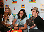"HAIR cast - Bryce Ryness - Will Swenson and Gavin Creel at Broadway Barks 11 - a ""Pawpular"" star-studded dog and cat adopt-a-thon on July 11, 2009 in Shubert Alley, New York City, NY. (Photo by Sue Coflin/Max Photos)"