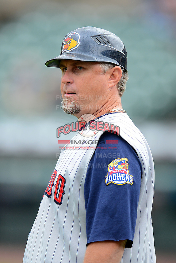 Toledo Mudhens manager Phil Nevin #25 during a game against the Rochester Red Wings on June 11, 2013 at Frontier Field in Rochester, New York.  Toledo defeated Rochester 9-5.  (Mike Janes/Four Seam Images)