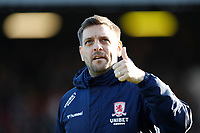 8th February 2020; Griffin Park, London, England; English Championship Football, Brentford FC versus Middlesbrough; Middlesbrough Manager Jonathan Woodgate giving the thumbs up - Strictly Editorial Use Only. No use with unauthorized audio, video, data, fixture lists, club/league logos or 'live' services. Online in-match use limited to 120 images, no video emulation. No use in betting, games or single club/league/player publications