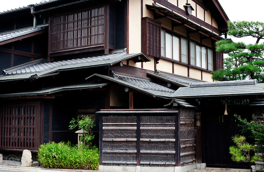 Detail of a traditional Japanese house in Kyoto, Japan.