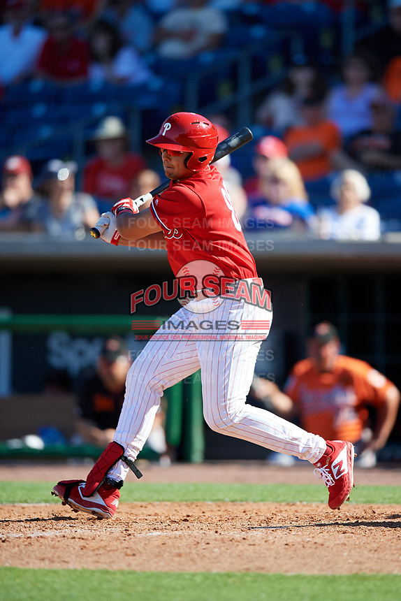 Philadelphia Phillies first baseman Darick Hall (85) follows through on a swing during a Grapefruit League Spring Training game against the Baltimore Orioles on February 28, 2019 at Spectrum Field in Clearwater, Florida.  Orioles tied the Phillies 5-5.  (Mike Janes/Four Seam Images)