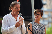 Stefano e Nunzia Mormile - Relatives of Umberto Mormile, Prisoner educator/teacher killed in Carpiano - Milan - by the Calabrian 'Ndrangheta mafia in 1990.<br /> <br /> Palermo (Sicily - Italy), 19/07/2017. &quot;Basta depistaggi e omert&agrave; di Stato!&quot; (&quot;Stop disinformation &amp; omert&aacute; by the State!&quot;)(1). Public event to commemorate the 25th Anniversary of the assassination of the anti-mafia Magistrate Paolo Borsellino along with five of his police &ldquo;scorta&rdquo; (Escorts from the special branch of the Italian police force who protect Judges): Agostino Catalano, Emanuela Loi (The first Italian female member of the police special branch and the first woman of this branch to be killed on duty), Vincenzo Li Muli, Walter Eddie Cosina and Claudio Traina. The event was held at Via D'Amelio, the road where Borsellino was killed. Family members of mafia victims, amongst others, made speeches about their dramatic experiences, mafia violence and unpunished crimes, State cover-ups, silence ('omert&aacute;'), and misinformation. Speakers included, amongst others, Vincenzo Agostino &amp; Augusta Schiera, Salvatore &amp; Cristina Catalano, Graziella Accetta, Massimo Sole, Paola Caccia, Luciano Traina, Angela Manca, Stefano Mormile, Ferdinando Imposimato, Judge Nino Di Matteo. The event ended with the screening of the RAI docu-fiction, 'Adesso Tocca A Me' ('Now it's My Turn' - Watch it here: http://bit.ly/2w3WJUX ).<br /> <br /> For more info &amp; a video of the event please click here: http://bit.ly/2eQfNT3 &amp; http://bit.ly/2eQbmrj &amp; http://19luglio1992.com &amp; http://bit.ly/2he8hCj<br /> <br /> (1) 'Omerta' is the term used in Italy to refer to the code of silence used by mafia organisations, as well as the culture of silence that is entrenched in society at large (especially among victims of mafia crimes, as they fear recriminations), about the existence of organised crime and its activities.