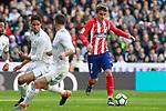 Real Madrid's Raphael Varane (l) and Daniel Carvajal (c) and Atletico de Madrid's Antoine Griezmann during La Liga match. April 8,2018. (ALTERPHOTOS/Acero)