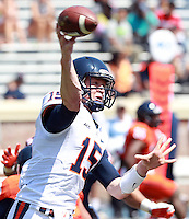 Virginia quarterback Matt Johns (15) throws the ball during the annual Virginia football Orange-Blue Spring Game Saturday at Scott Stadium in Charlottesville, VA. Photo/The Daily Progress/Andrew Shurtleff