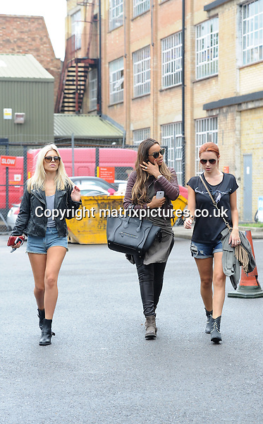 NON EXCLUSIVE PICTURE: PALACE LEE / MATRIXPICTURES.CO.UK<br /> PLEASE CREDIT ALL USES<br /> <br /> WORLD RIGHTS<br /> <br /> Mollie King, Una Healy and Rochelle Humes of English-Irish pop girl group &quot;The Saturdays&quot; are pictured leaving a South London recording studio.<br /> <br /> AUGUST 16th 2013<br /> <br /> REF: LTN 135546