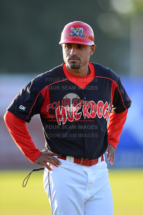 Batavia Muckdogs manager Angel Espada (4) during a game against the State College Spikes on June 29, 2013 at Dwyer Stadium in Batavia, New York.  Batavia defeated State College 5-4.  (Mike Janes/Four Seam Images)